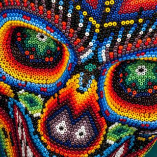 Huichol Glass Bead Skull