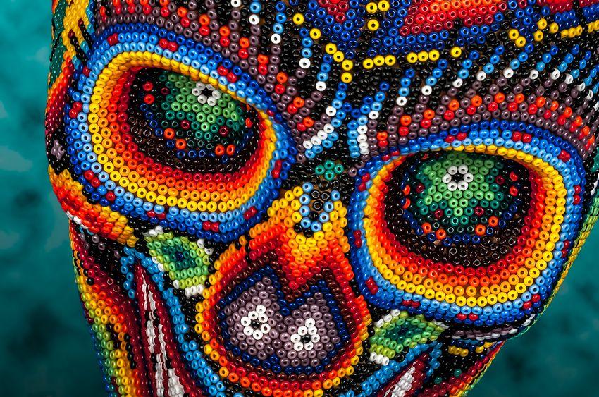 Huichol Glass Bead Skull