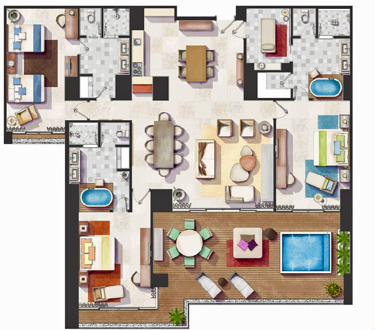 Vidanta Nuevo Vallarta Spa Tower 3 Bedroom Floor Plan